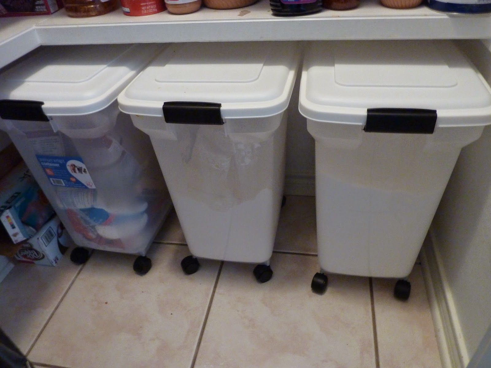see how this blogger uses our rolling pet food containers for bulk storage of sugar and