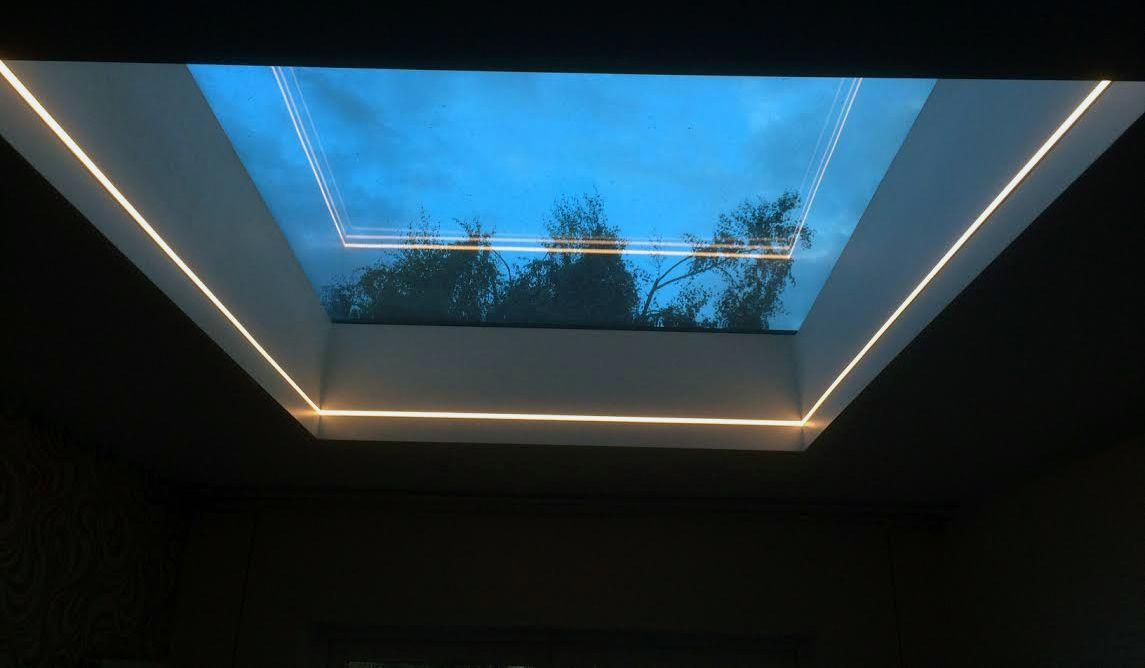 Warmer White 2700k Led Tape Skylight Installation In A Dark Room Interiorledlights Skylight Installation Roof Lantern Skylight