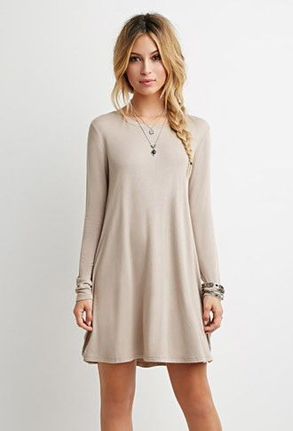 ea6065367a9f French Terry Trapeze Dress | Forever 21 • fall dresses. long sleeve dresses.