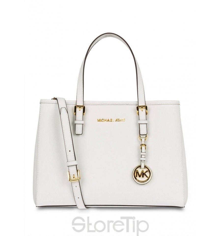 Michael Kors Tasche Handtasche weiß Creme Leder