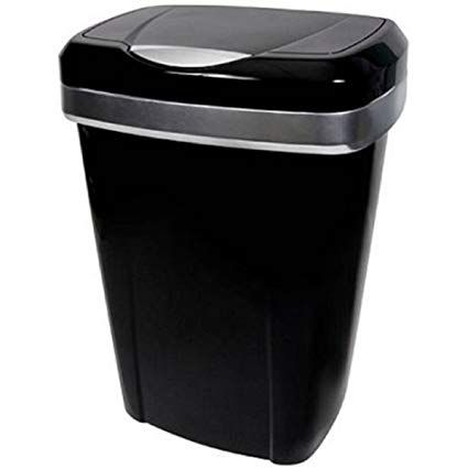 12 2 Gallon Black With Silver Accents Premium Touch Lid Uses 13 Tall Kitchen Trash Bags Can Review