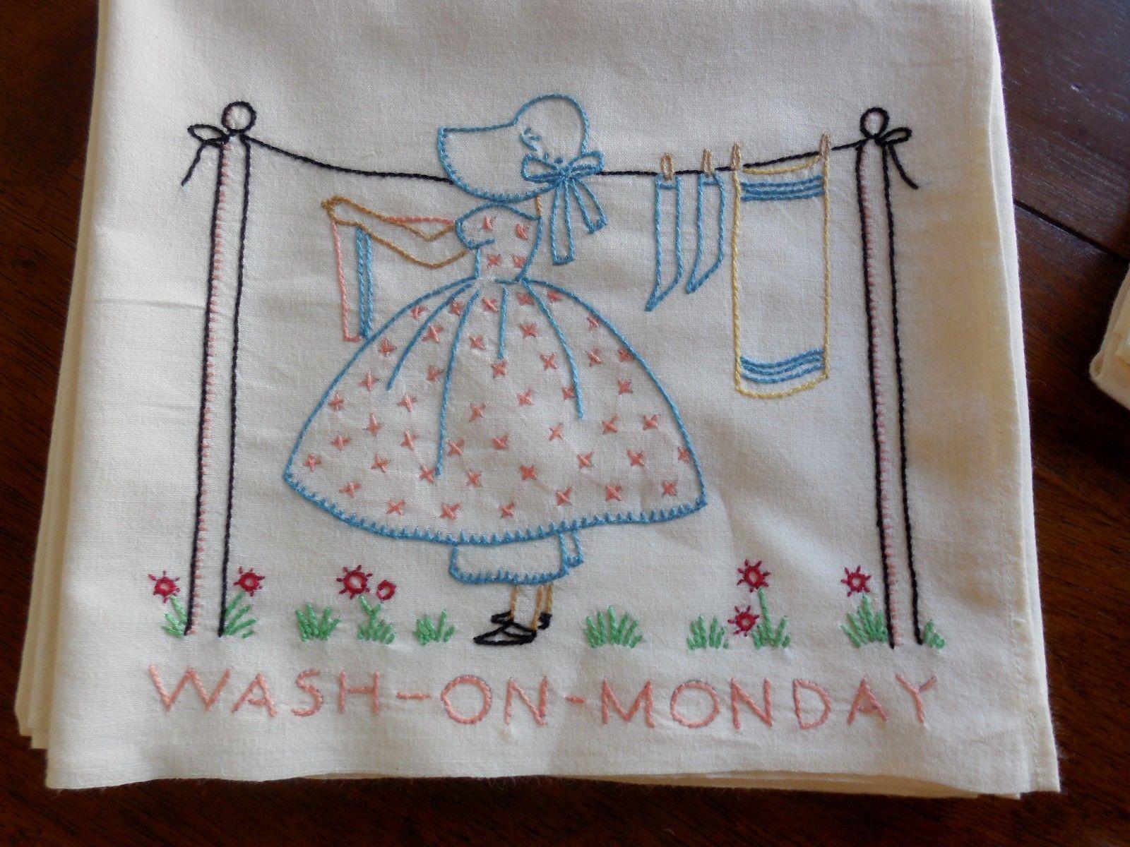 Vintage sun bonnet sue embroidered kitchen tea towels days of the vintage sun bonnet sue embroidered kitchen tea towels days of the week bankloansurffo Images