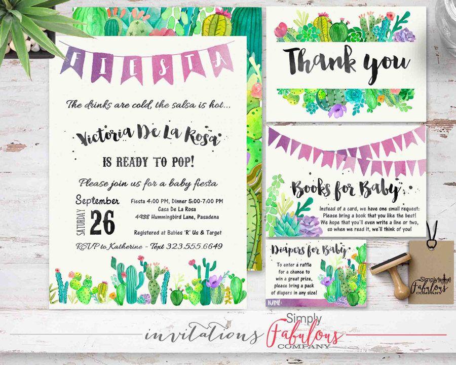 Desert Baby Invitation, Watercolor Cactus, Succulents, Baby Shower ...