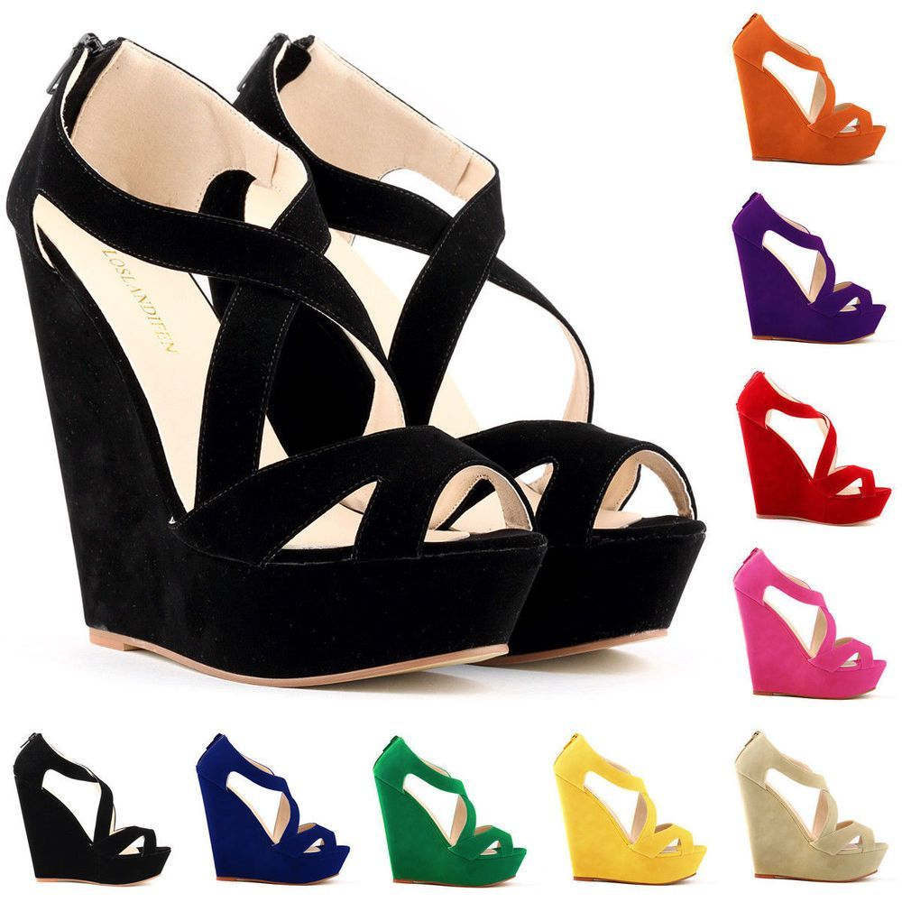 f91b87b8d1a7b Women Velvet Sandals High Heels Platform Pump Open Toe Wedges Shoes ...