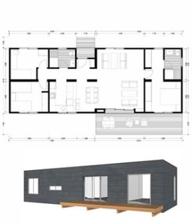 Planos casas de madera prefabricadas plano 100m2 modelo b for Planos casas prefabricadas