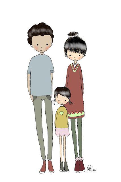 portrait de famille personnalis illustr stylis par n lia dessins illustrations par n lia. Black Bedroom Furniture Sets. Home Design Ideas