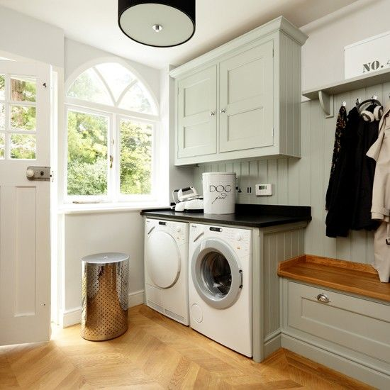 60 Beautiful Small Laundry Room Designs: Pale Blue And Wood Utility Room