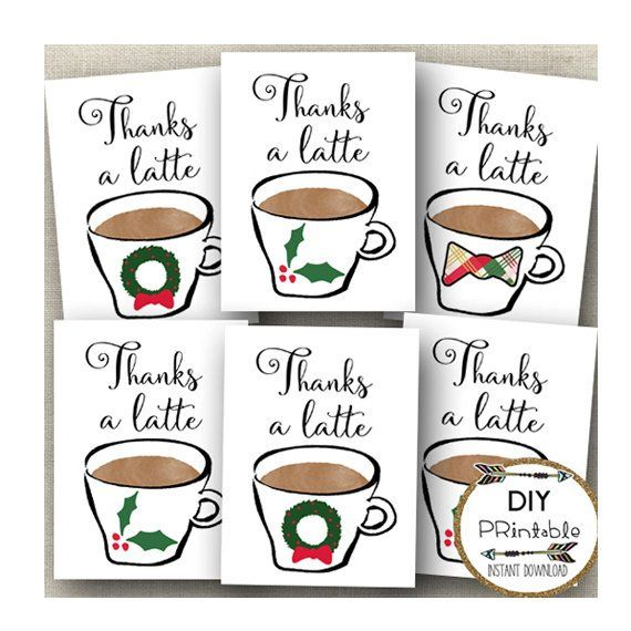 Thanks A Latte Printable Tags This printable sheet of Thanks a Latte