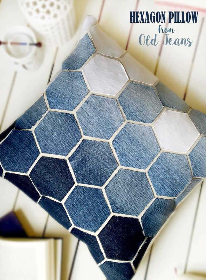 Jean Hexagon Pillow - don t throw away those old jeans! You can make this awesome Pillow using ...