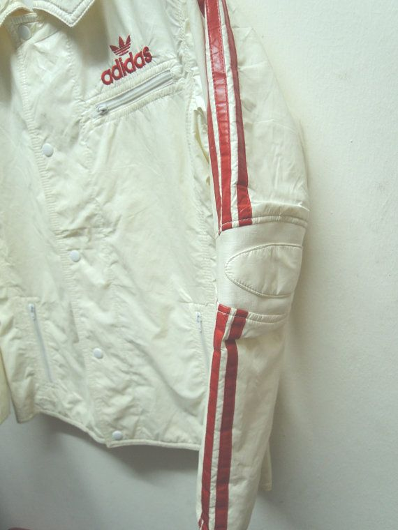 Zipper And Vintage Jacket Fully Adidas Bomber Leather Button 90's B6qxR6X
