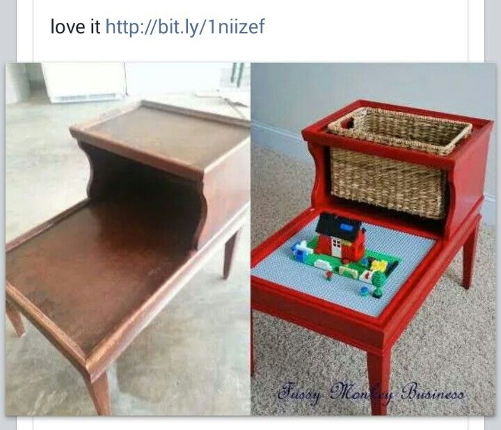 Lego play table made from old furniture...genius! A perfect repurpose. This is a fun gift idea too.
