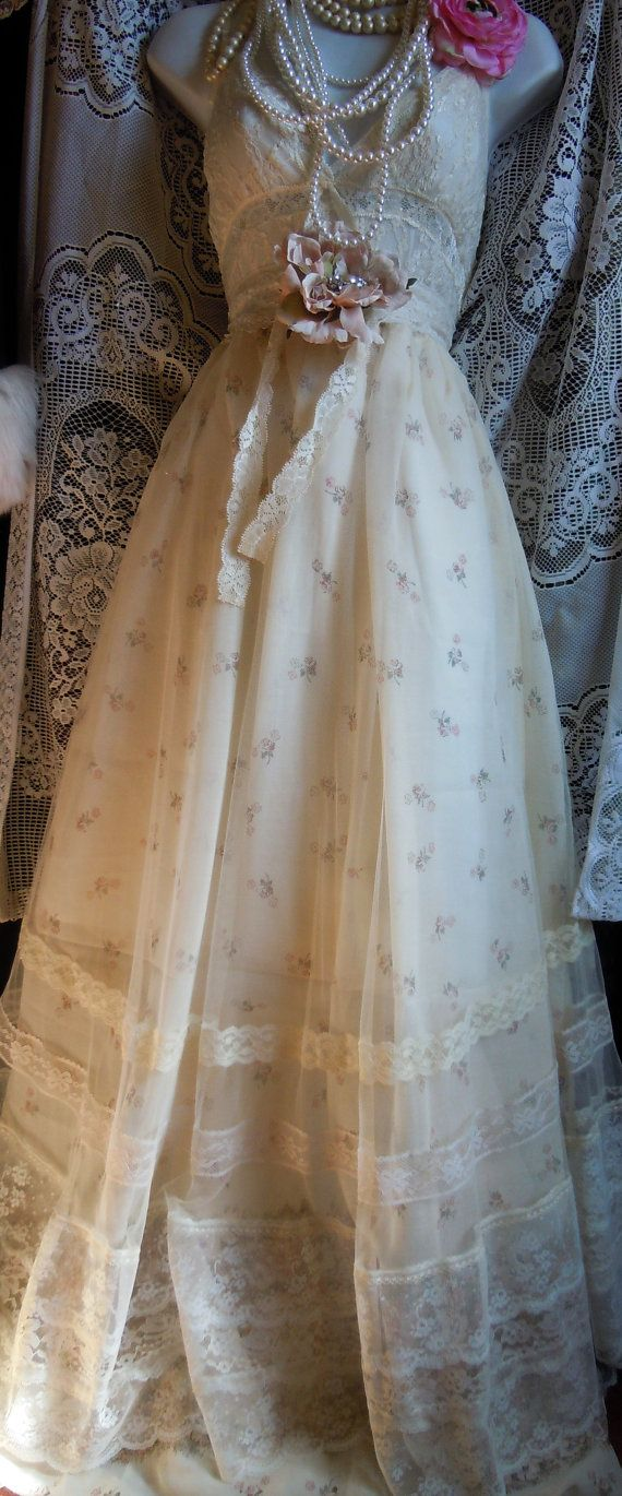 Floral Wedding Dress lace ivory cream tulle by vintageopulence