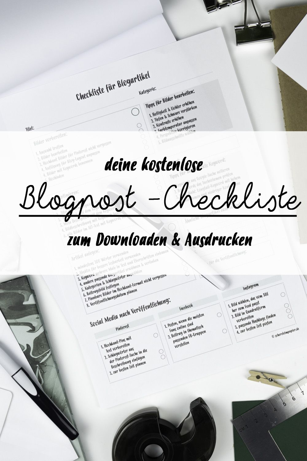 Kostenlose Blog Post Checkliste | Seo, Upcycling and Blogging