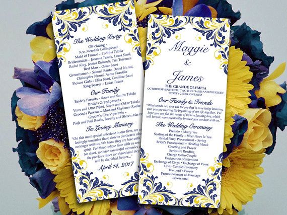 Diy Wedding Program Template Navy Blue Yellow Maggie Printable