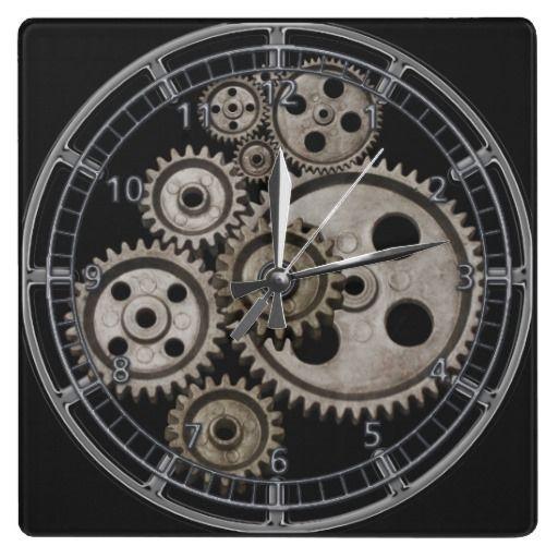 steampunk gears cogs engine square machine clock | Zazzle ca