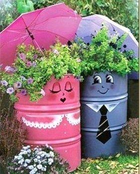 Idées pour le recyclage de barils !   fleurs   Jardins, Déco jardin ...