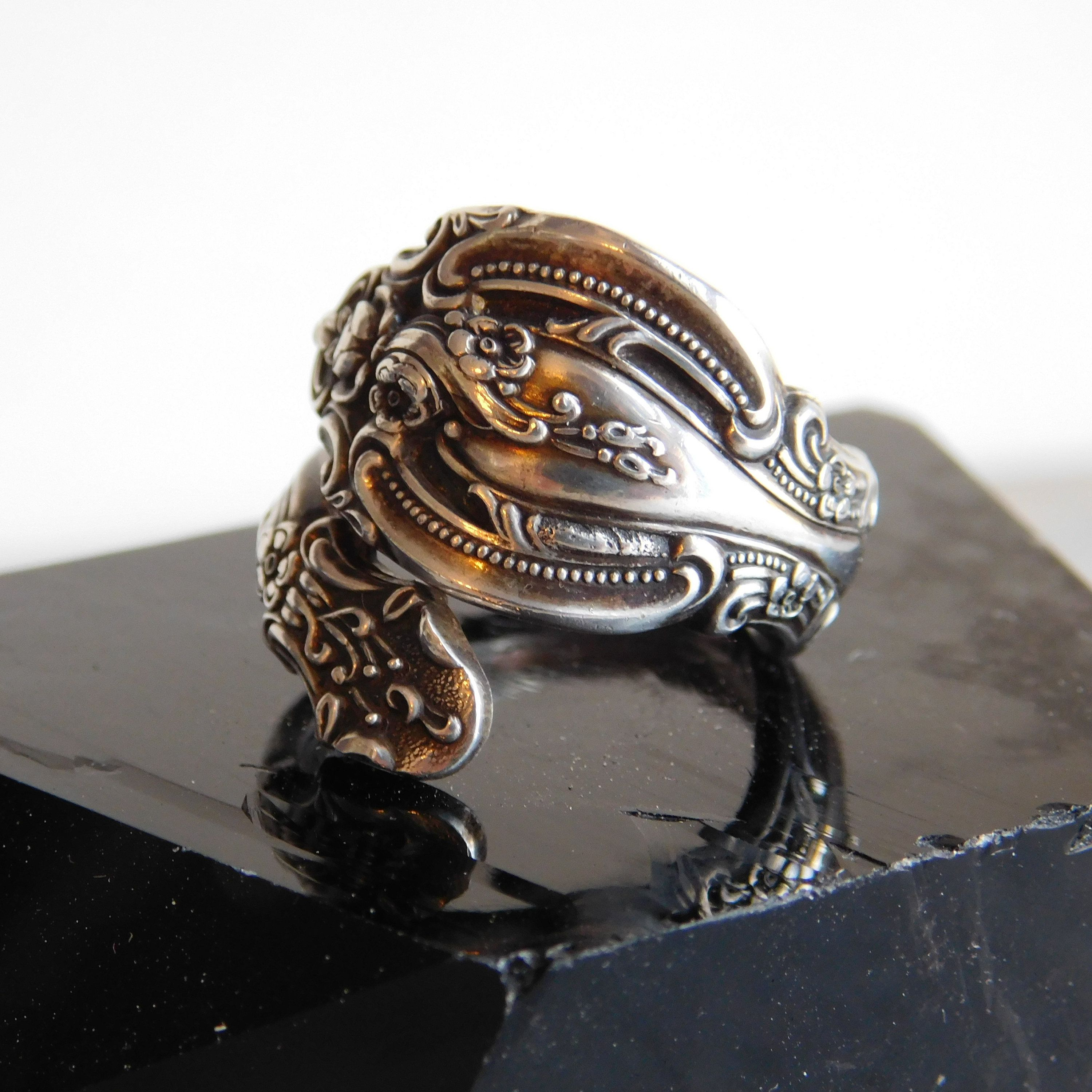 Vintage Sterling 925 Ornate Flower Bead /& Agate India Ring Size 10