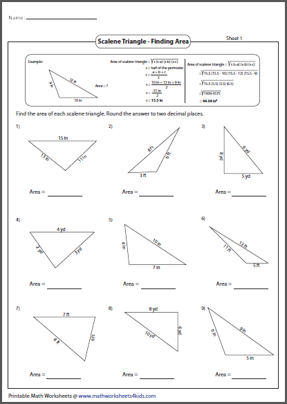 Area Of Scalene Triangle Triangle Worksheet Triangle Worksheets