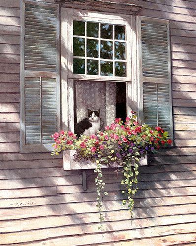 Cat Sitting In Window Art Print of Painting by Master ...