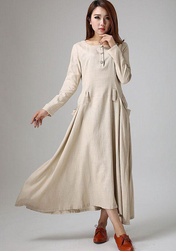 Two large pockets dress cream linen dress maxi dress by xiaolizi
