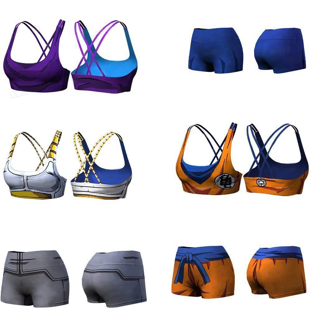 e5ada16058644 Dragon Ball Z Lady Women Shorts Crop Tops Bustier Bra Tank Top Sports Yoga  Gym
