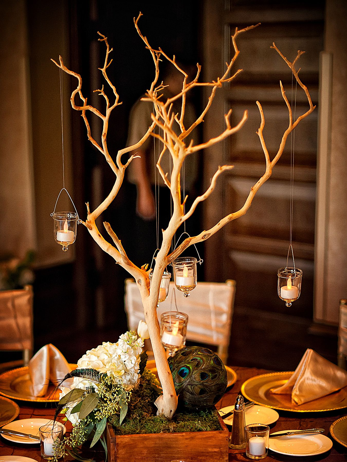 Branches With Hanging Candles Branch Centerpieces Wedding Wedding Table Settings Centerpieces Candle Wedding Centerpieces
