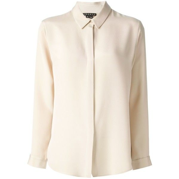 ca2943fa37043 Theory silk blouse ( 325) ❤ liked on Polyvore featuring tops ...