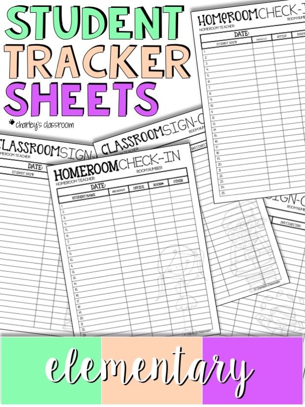 Student Tracker Sheets Elementary Classroom signs, Elementary