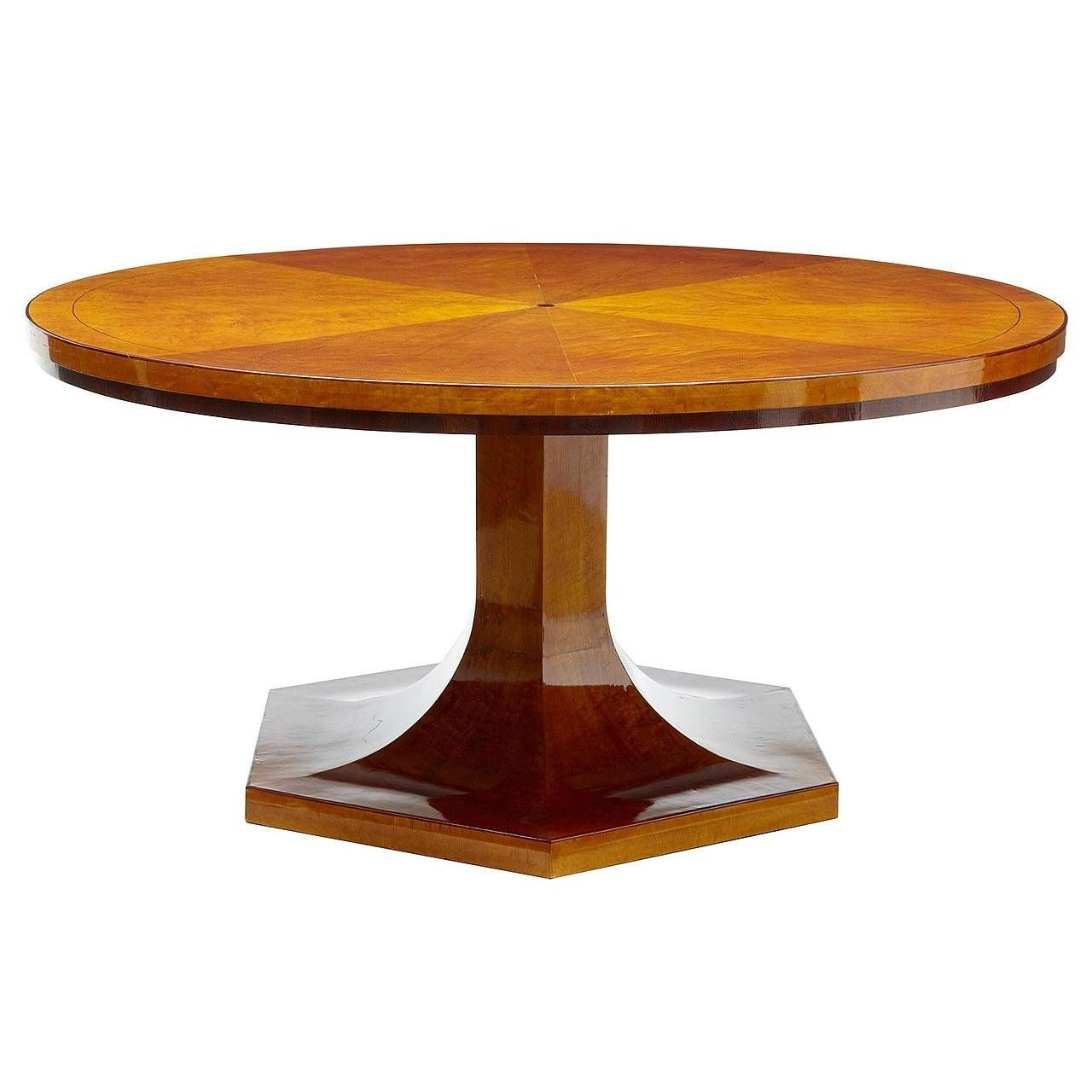 1920s Large Art Deco Birch Round Dining Table