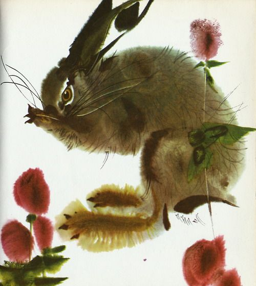 Mirko Hanák - Hare from Joyce Stranger's Book of Hanák's Animals