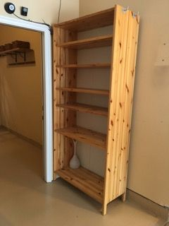 KNOTTY PINE BOOKCASE WITH ADJUSTABLE SHELVES AND SIDE HOOKS 83H X 38W 16D