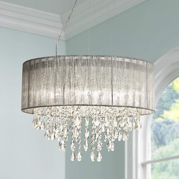 Possini euro jolie 20w silver fabric crystal chandelier w7974 lamps plus