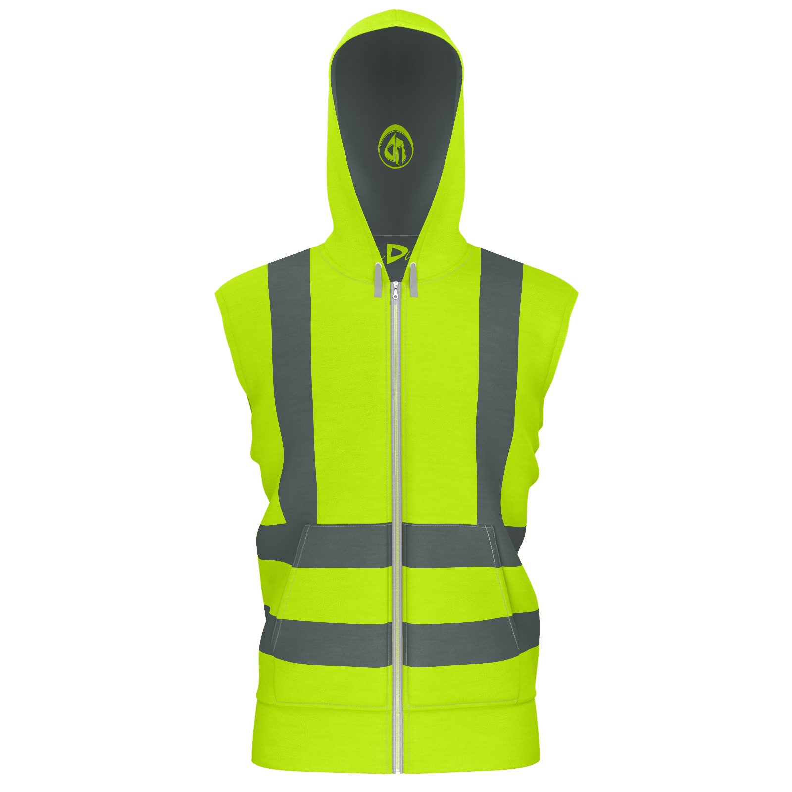 Yellow Vest Zip Hoodie With Dual Striped Suspenders Yellow Vest Sleeveless Hoodie Hoodies