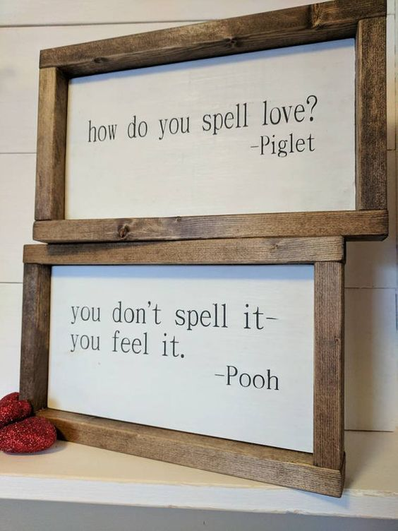 Photo of THE ORIGINAL farmhouse inspired Pooh and Piglet 'how do you spell love' quote framed wood sign SET
