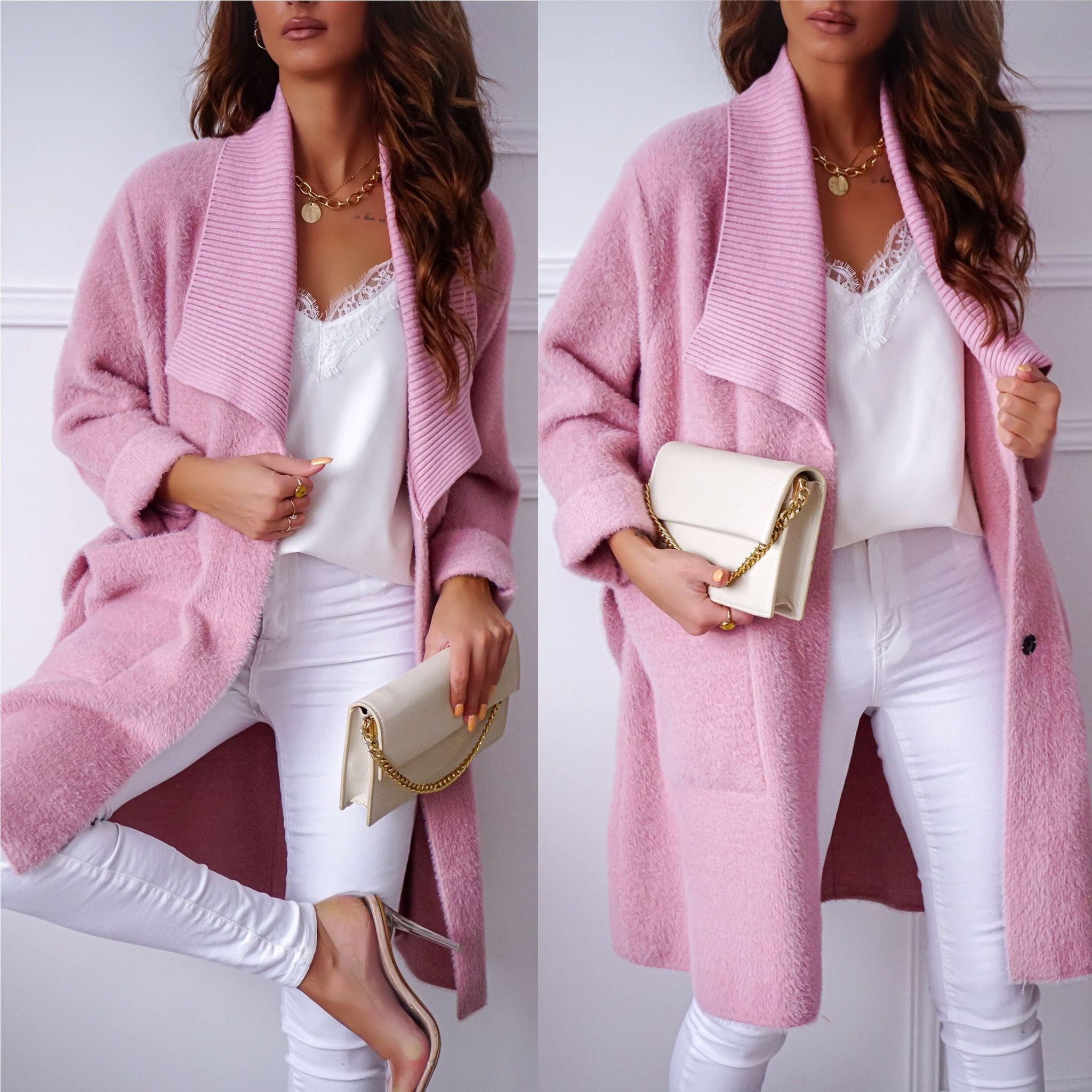 Plaszcz Zara Alpak Pudrowy Roz Fashion Women S Blazer Women