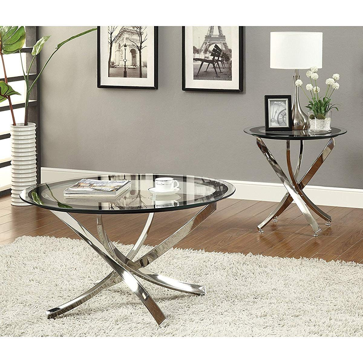 Round Clear Tempered Gl End Table Chrome