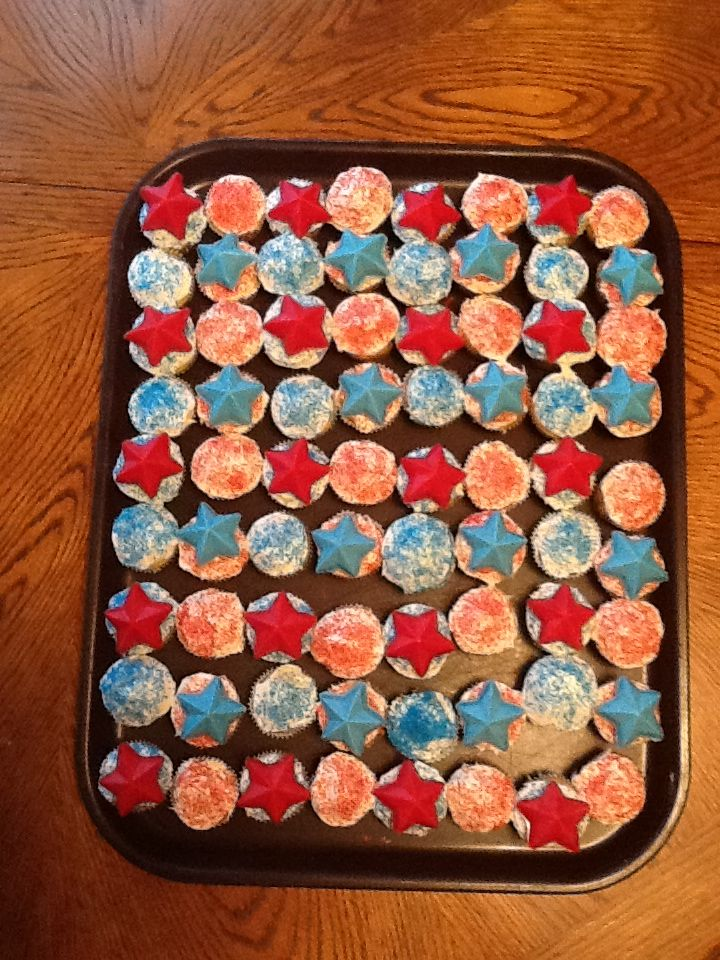 Fourth of July cupcakes! Bake regular mini cupcakes, sprinkle with red and blue sprinkles, and put star shaped chocolate molds on top!