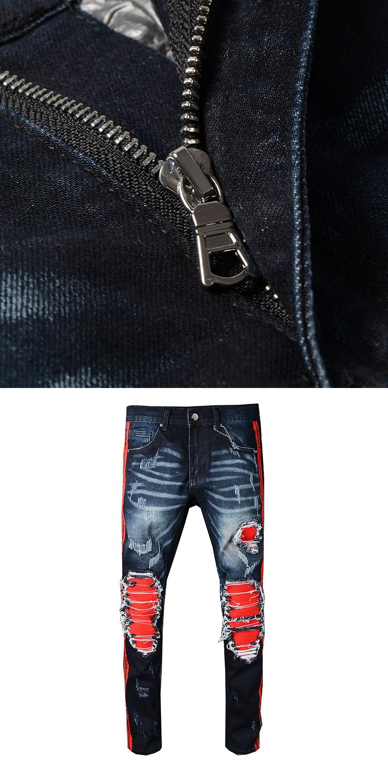 New arrive 2018 Men s Distressed Destroyed Pants Ribbed Black Mix Red Side  Stripe Slim Black Jeans Trousers Size 28-42 9ffef5f4fdcc