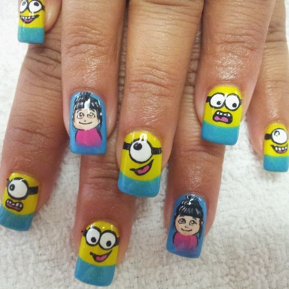 50 Adorable Despicable Me Minion Nail Designs - 50 Adorable Despicable Me Minion Nail Designs Nail Art Pinterest