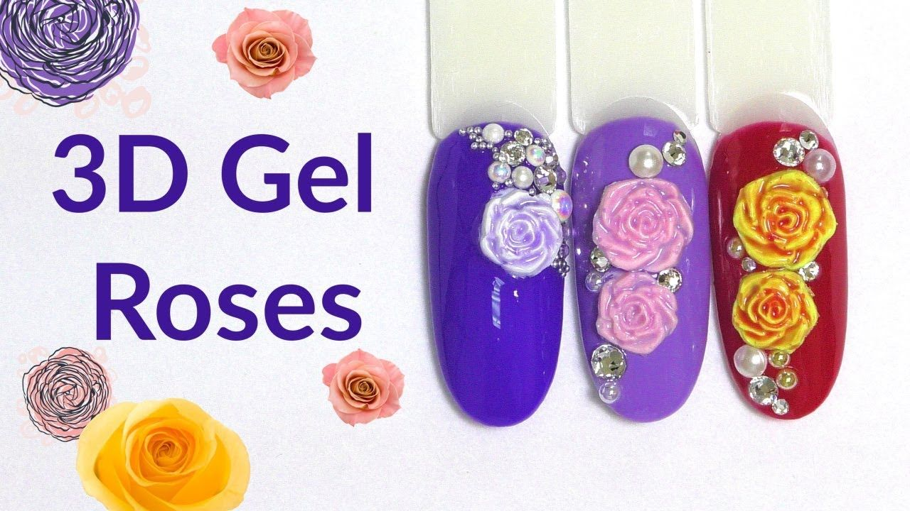 3d Gel Roses Nail Art With Mold