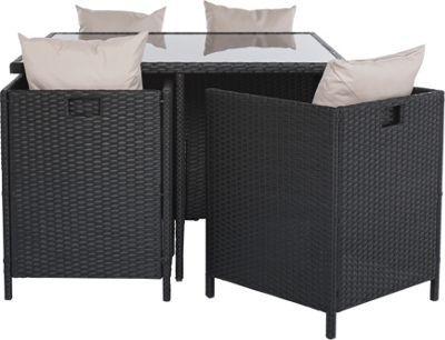 Buy Rattan Effect 4 Seater Cube Patio Set - Black at Argos.co.uk ...