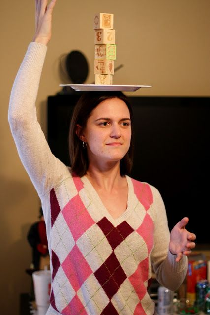 Balance a plate on head and stack 5 blocks on top | Minute to win it games, Minute to win it
