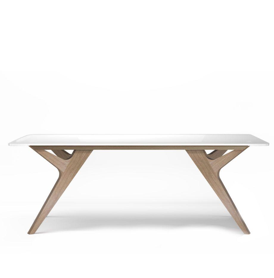 Table Bois Blanc Chene Design Scandinave Made France 3 Table Blanche Et Bois Table Bois Table En Chene