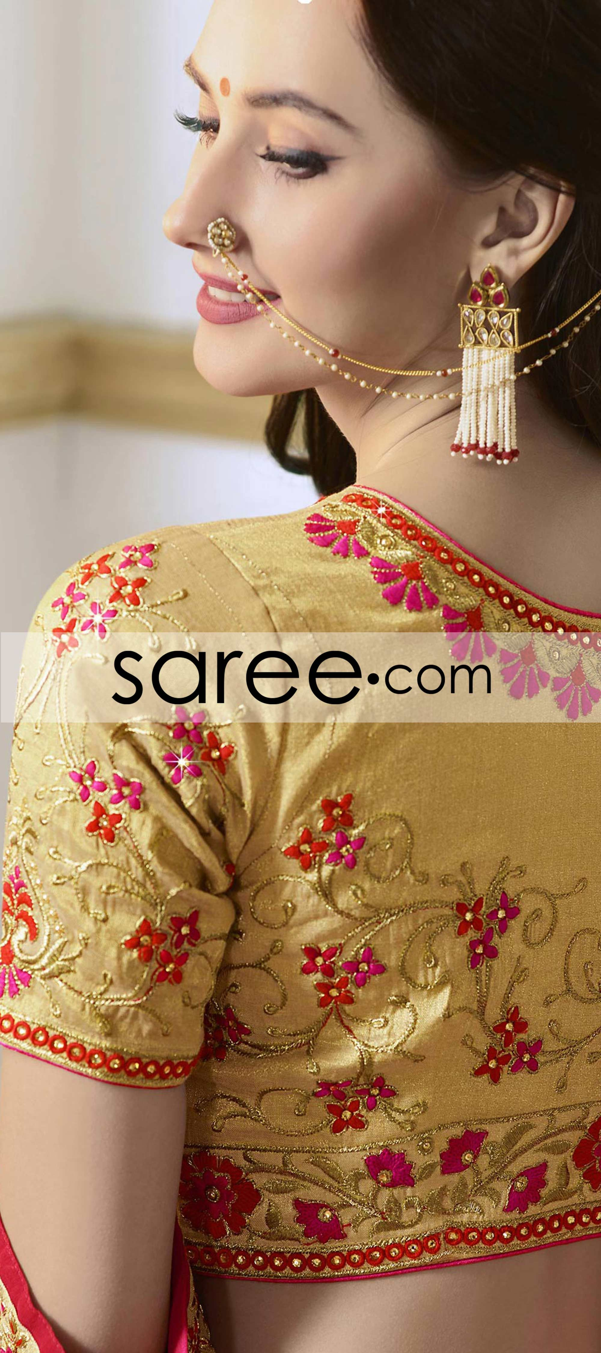Pink And Orange Georgette Saree With Lace Best Blouse Designs Blouse Design Models Black Shirts Women