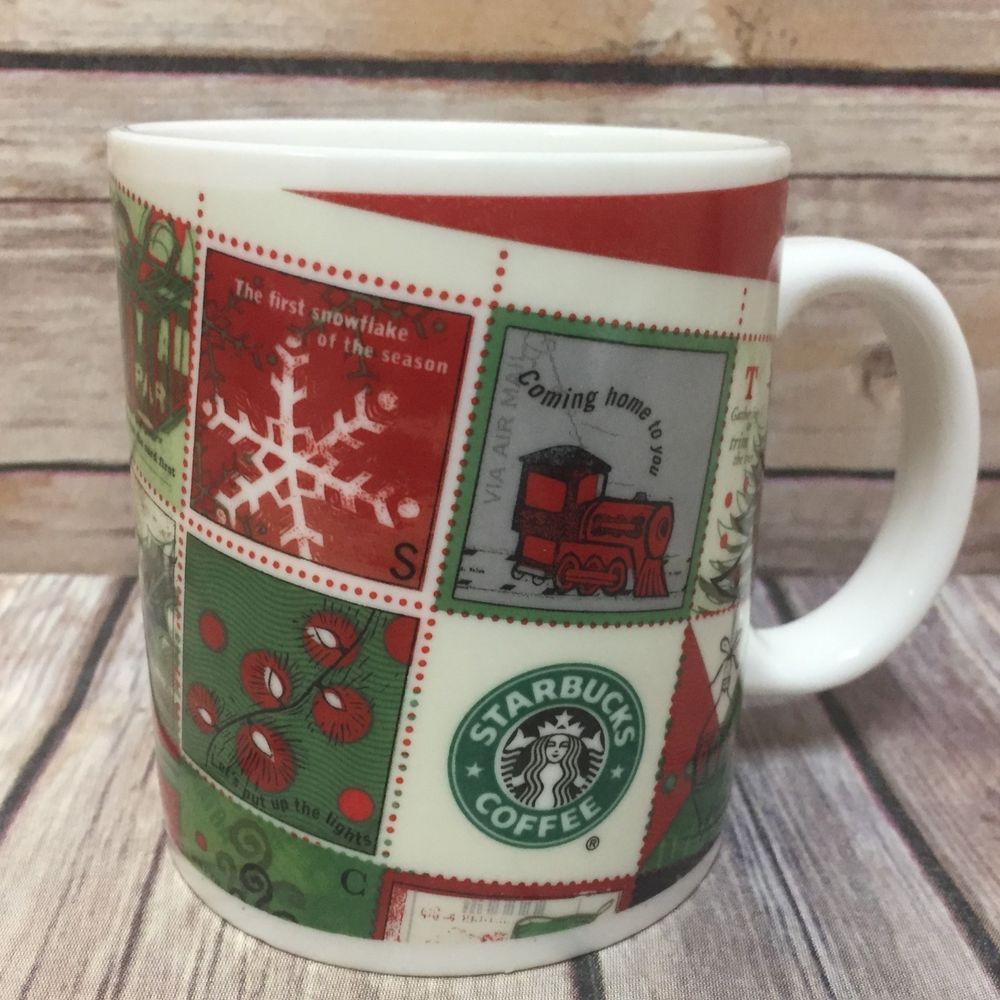 Starbucks Coffee Mug Barista Holiday 2001 Christmas Stamps Train ...