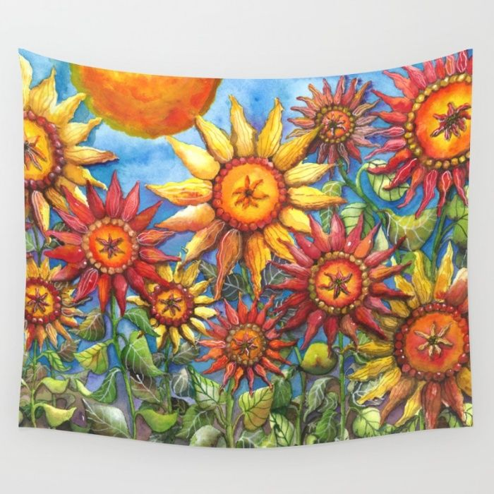 Beautiful watercolor sunflowers Summer Wall Tapestry by Shelley Ylst Art | Society6