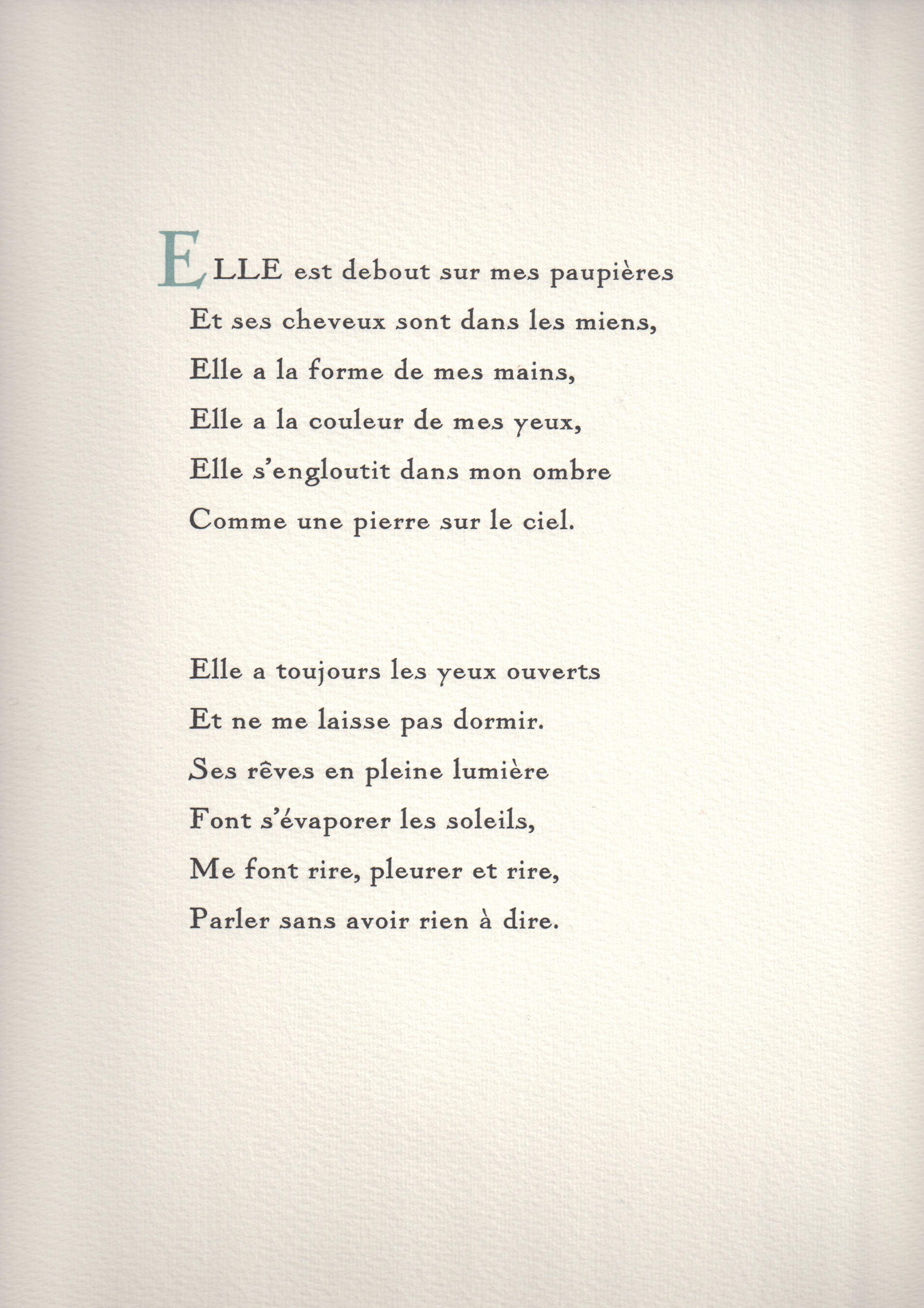 Lady Love Tirage Confidentiel Bilingue Traduction De Samuel Beckett D Un Tres Beau Poeme De Paul Eluard Compose A La Main En Beaux Poemes Jolis Mots Eluard