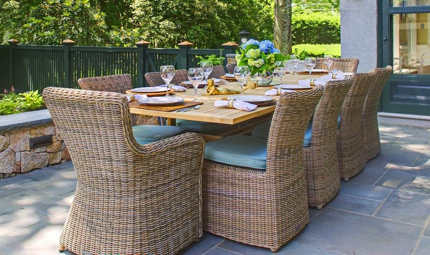 Kingsley Bates teak table and sag harbor grey chairs