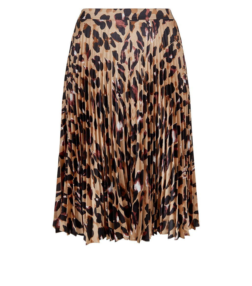 first look cheap for sale marketable Curves Brown Leopard Print Pleated Satin Midi Skirt in 2019 ...