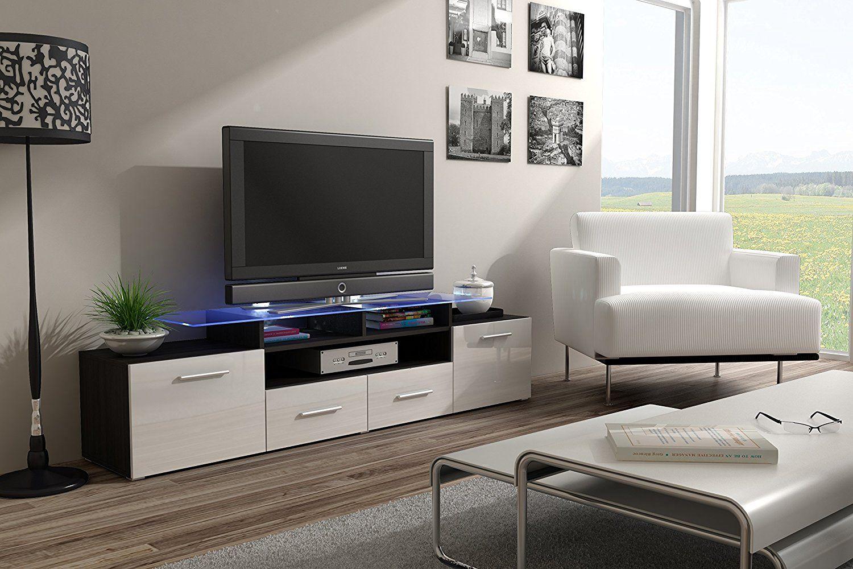 Modern Living Room With ENEA GRAND Top Glass Shelf Tv Stand High Gloss